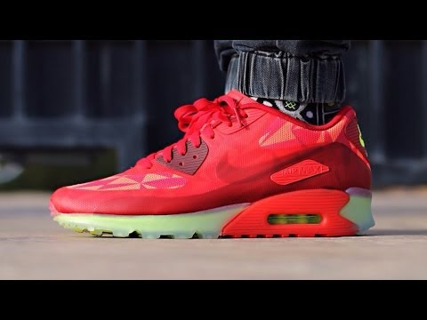 """Nike Air Max 90 ICE """"Gym Red"""" (on feet)"""