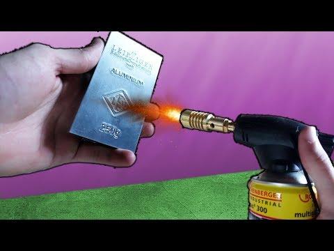 Experiment - Kann man mit dem GASBRENNER einen ALUMINIUM BARREN SCHMELZEN?