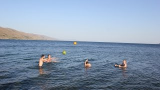 preview picture of video 'Lake Sevan Armenia playing watermelon ball , Севан, Армения ,   Սևան  Հայաստան'