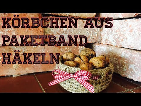 Süßes Körbchen/Korb häkeln aus Juteschnur/Paketband