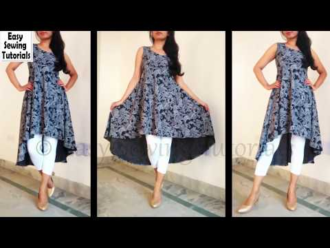 high low cut kurti drafting and cutting in hindi step by