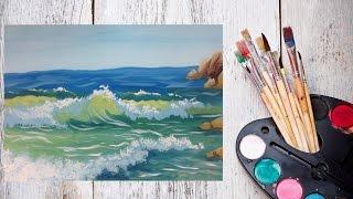 Смотреть онлайн Как нарисовать волны гуашью