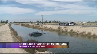 Road rage leads to crash in canal on South H near Hosking Road