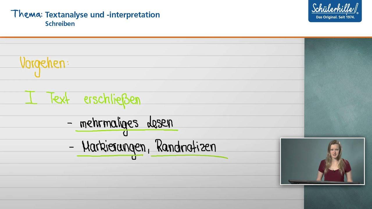 Textanalyse & -interpretation // Schreiben // Deutsch // Schülerhilfe Lernvideo