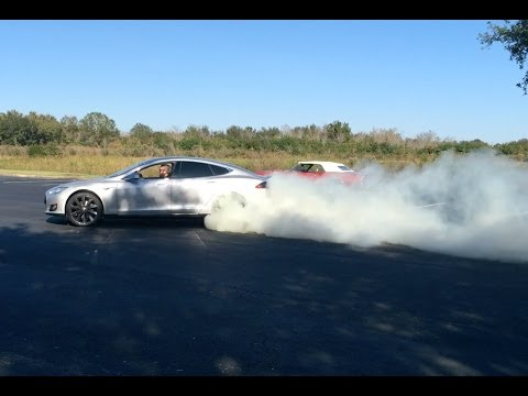 BURNOUTS! 2013 Tesla Model S P85 vs  1968 Pontiac Firebird 400 Convertible