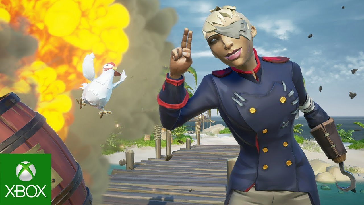 Female Character posing with airborne chicken and explosion in background