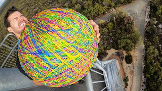 GIANT RUBBER BAND BALL 45m Drop Test! How High Will it Bounce?