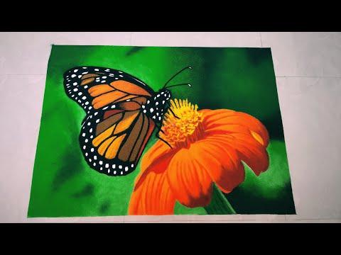 realistic butterfly flower poster rangoli by light2dark shade