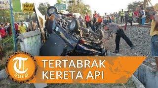 Lewati Lintasan KA Tanpa Palang di Sragen, Pengendara Mobil Grand Max Disambar KA Joglosemarkerto