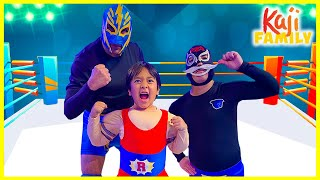 Ryan Becomes Strong and Challenge La Luchadora on Ryan's Mystery Playdate!!!