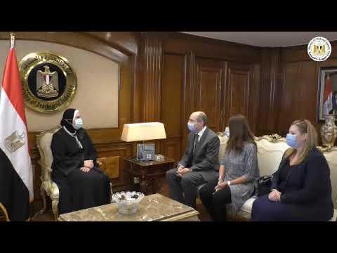 لقاء السيدة/نيفين جامع وزيرة التجارة والصناعة مع سفير المجر بالقاهرة