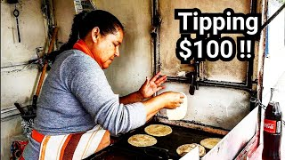 AMAZING Mexican Street Food – Tipping $100 To A Nice Hardworking Lady – Tacos, Gorditas  And Sopes