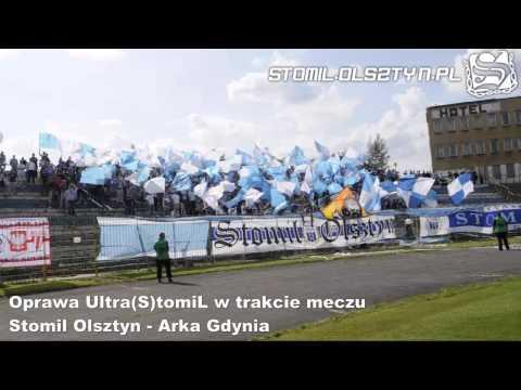 Oprawa Ultra(S)tomiL w trakcie meczu Stomil Olsztyn - Arka Gdynia