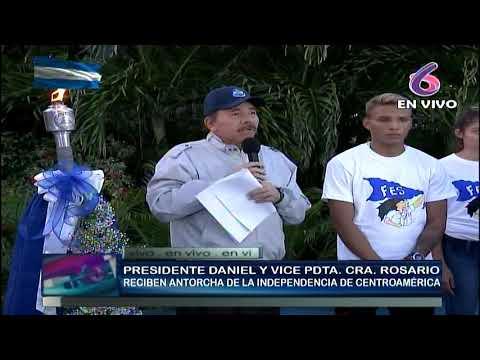 Presidente Daniel y Compañera Rosario reciben la Antorcha de la Independencia Centroamericana