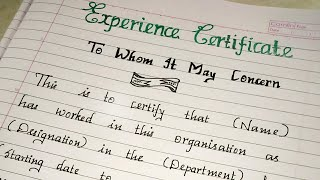 Experience Certificate Format..//writing a formal experience certificate.//Neat handwriting