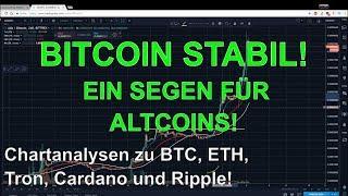 BITCOIN STABIL! EIN SEGEN FÜR ALTCOINS? Marktübersicht und Analyse BTC Ethereum Tron Cardano  Rippl