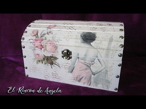 Baul de madera decorado con decoupage y pintura chalk. Diy Manualidades