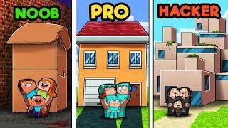 Minecraft - FAMILY HOUSE CHALLENGE! (NOOB Vs PRO Vs HACKER)