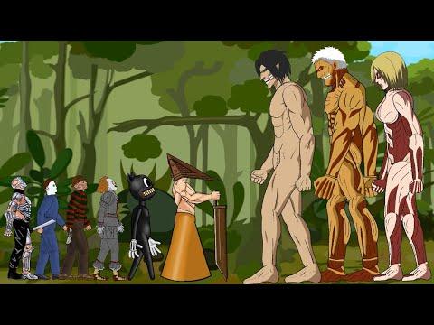 Eren Titan, Armored Titan, Female Titan vs Pyramid Head, Jason, Pennywise Freddy - Drawing Cartoon 2