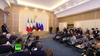Владимир Путин и премьер-министр Италии проводят пресс-конференцию по итогам встречи