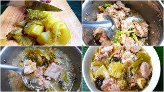 กับข้าวกับปลาโอ 704 ต้มซี่โครงหมูผักกาดดอง ซดน้ำร้อนๆคล่องคอ Pickled lettuce soup with  streaky pork