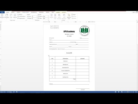 How To Make Receipt Bill IN MS Word