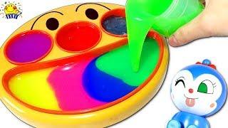 アンパンマン【スライムまぜる★】フェイスランチ皿でリカちゃんと英語や数字を学ぼう♩おもちゃやねんどでバイキンマンと手作り対決!Mixing slime
