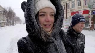 Real Winter In Ukraine. Frost -7F (-21C). Roads In Snow
