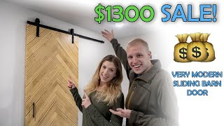 Sliding Barn Door With Modern Herringbone Pattern | Build & Sell | Woodworking Business