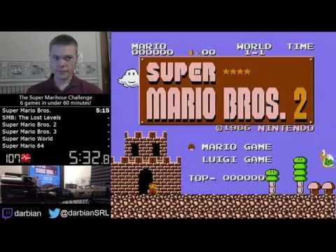 Speedrunner beats the first 6 main Mario games in under 1 hour.