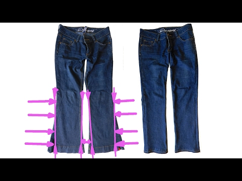 Hosenbeine enger nähen, DIY Anleitung.  How to Make Skinny Jeans from Flare or Boot Cut Jeans