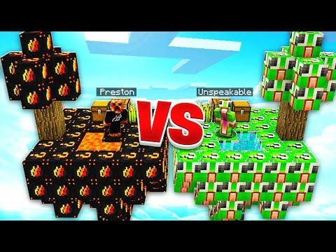 PRESTONPLAYZ vs UNSPEAKABLEGAMING LUCKY BLOCKS! - | Youtube Search
