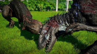 T-Rex Vs Indominus Rex Vs Indoraptor Vs Giganotosaurus - Jurassic World Evolution