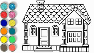 House Drawing For Kids ♥ Glitter House Coloring ♥ Drawing And Coloring Pages