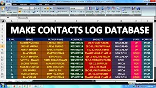 Lesson - 01 | Data Entry Job Training For Beginners | How To Make Contacts Log Database In Excel |