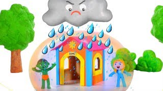 Kids Protect Their Playhouse From The Rain ❤ Cartoons For Kids
