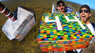 THOR'S HAMMER Vs. GIANT LEGO BLOCK from 45m! (20,000 Bricks!)
