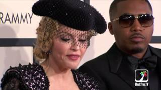 Nas And Madonna Hit The Red Carpet For The 2015 Grammy Awards