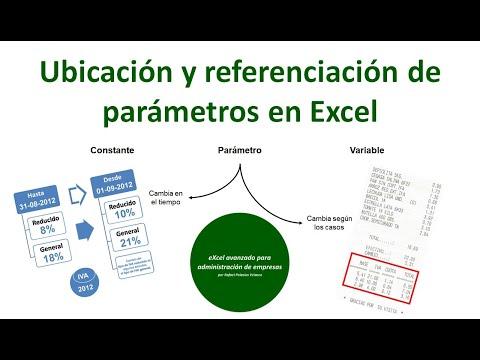Ubicación y referenciación de parámetros en Excel