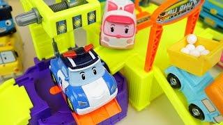 Robocar Poli car and truck toys car shop construction with Tayo bus