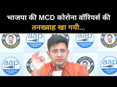 भाजपा की MCD कोरोना वॉरियर्स की तनख्वाह खा गयी | Raghav Chadha | AAP Press Conference