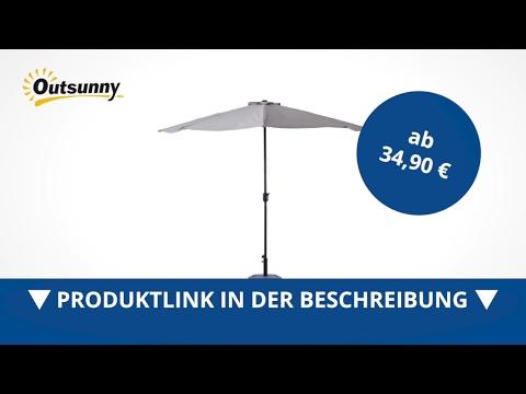 Outsunny Alu Sonnenschirm Kurbelschirm halbrund - direkt kaufen!