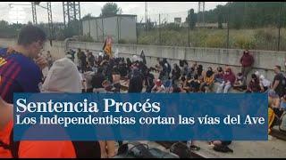 Los independentistas cortan las vías del AVE en Girona