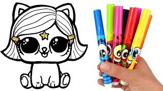 Draw and Color LOL Surprise Lils Kitten   How to Draw Witchay Kittay for Kids