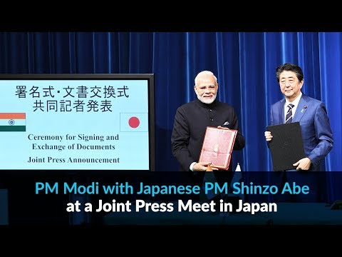 PM Modi with Japanese PM Shinzo Abe at a Joint Press Meet in Japan