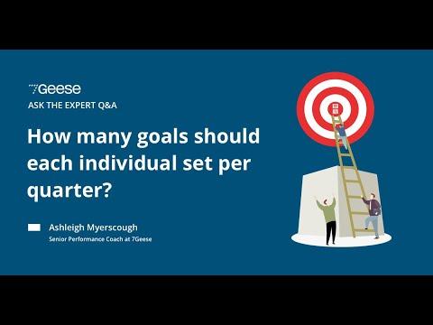 How many goals should each individual set per quarter?