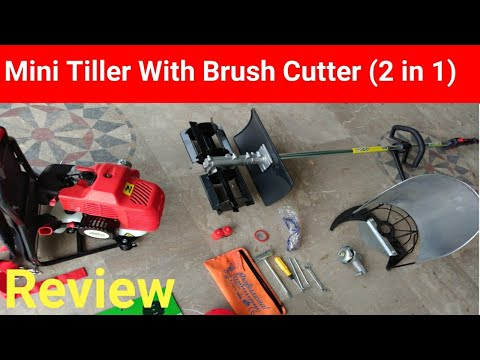 Mini Tiller and Brush Cutter Review || 2 in 1 Machine