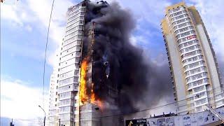 Пожар в 25-этажном жилом доме в г. Красноярске на ул. Шахтёров, 40 (21 сентября 2014 г.)