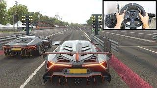Forza Horizon 4 DRAG RACE: Lamborghini Veneno Vs Centenario (Logitech G920 Steering Wheel) Gameplay