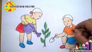 Vẽ tranh Bé trồng cây/How to Draw Baby plant trees